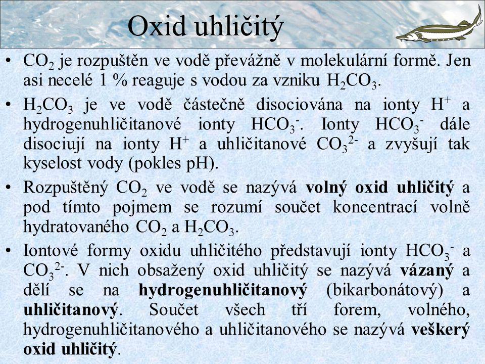 CO 2 je rozpuštěn ve vodě převážně v molekulární formě. Jen asi necelé 1 % reaguje s vodou za vzniku H 2 CO 3. H 2 CO 3 je ve vodě částečně disociován