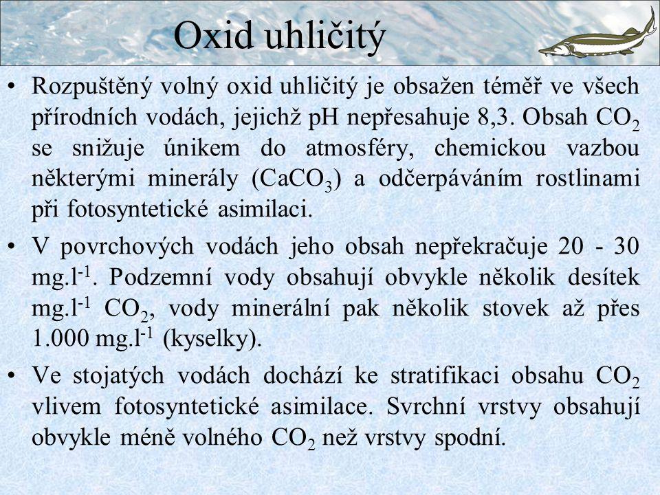 Rozpuštěný volný oxid uhličitý je obsažen téměř ve všech přírodních vodách, jejichž pH nepřesahuje 8,3. Obsah CO 2 se snižuje únikem do atmosféry, che