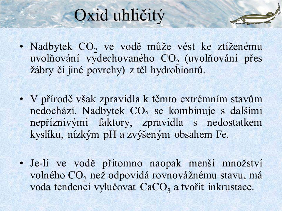 Nadbytek CO 2 ve vodě může vést ke ztíženému uvolňování vydechovaného CO 2 (uvolňování přes žábry či jiné povrchy) z těl hydrobiontů.