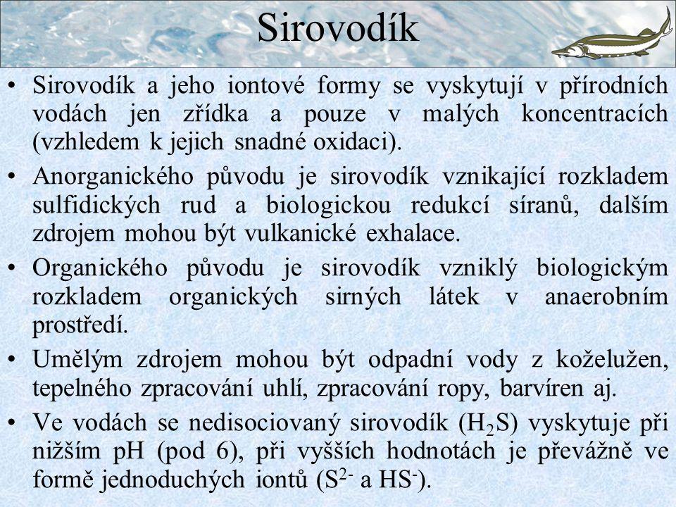 Sirovodík Sirovodík a jeho iontové formy se vyskytují v přírodních vodách jen zřídka a pouze v malých koncentracích (vzhledem k jejich snadné oxidaci)