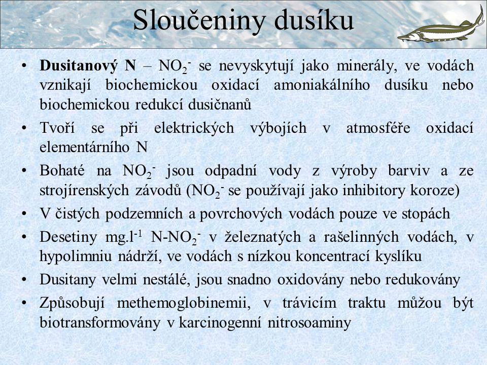 Sloučeniny dusíku Dusitanový N – NO 2 - se nevyskytují jako minerály, ve vodách vznikají biochemickou oxidací amoniakálního dusíku nebo biochemickou r