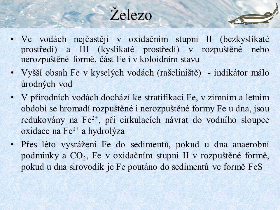 Ve vodách nejčastěji v oxidačním stupni II (bezkyslíkaté prostředí) a III (kyslíkaté prostředí) v rozpuštěné nebo nerozpuštěné formě, část Fe i v koloidním stavu Vyšší obsah Fe v kyselých vodách (rašeliniště) - indikátor málo úrodných vod V přírodních vodách dochází ke stratifikaci Fe, v zimním a letním období se hromadí rozpuštěné i nerozpuštěné formy Fe u dna, jsou redukovány na Fe 2+, při cirkulacích návrat do vodního sloupce oxidace na Fe 3+ a hydrolýza Přes léto vysrážení Fe do sedimentů, pokud u dna anaerobní podmínky a CO 2, Fe v oxidačním stupni II v rozpuštěné formě, pokud u dna sirovodík je Fe poutáno do sedimentů ve formě FeS Železo