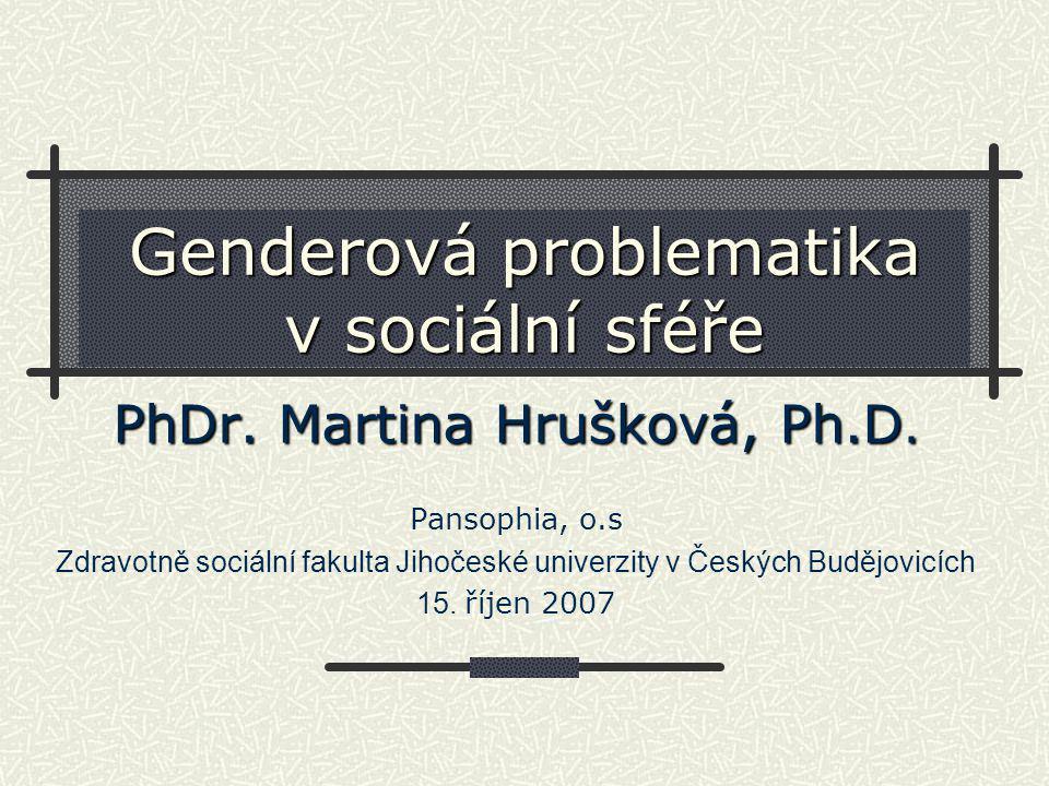 Genderová problematika v sociální sféře PhDr.Martina Hrušková, Ph.D.