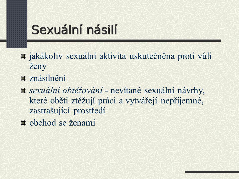 Sexuální násilí jakákoliv sexuální aktivita uskutečněna proti vůli ženy znásilnění sexuální obtěžování - nevítané sexuální návrhy, které oběti ztěžují práci a vytvářejí nepříjemné, zastrašující prostředí obchod se ženami