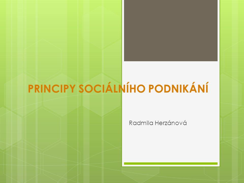 PRINCIPY SOCIÁLNÍHO PODNIKÁNÍ Radmila Herzánová