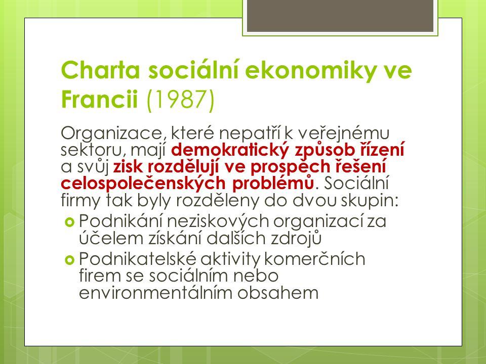 Charta sociální ekonomiky ve Francii (1987) Organizace, které nepatří k veřejnému sektoru, mají demokratický způsob řízení a svůj zisk rozdělují ve pr