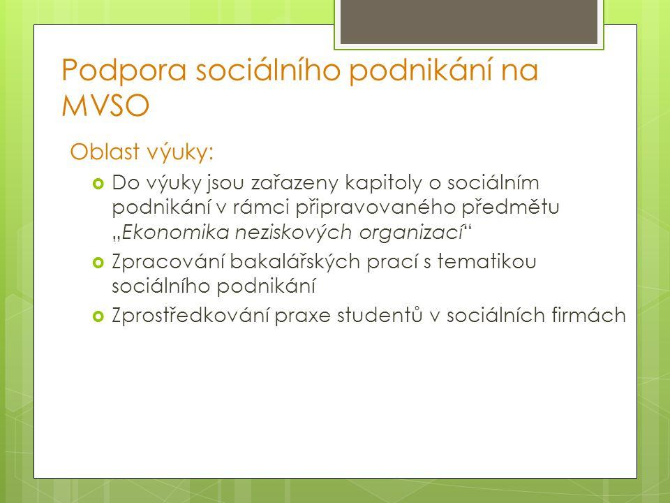 """Podpora sociálního podnikání na MVSO Oblast výuky:  Do výuky jsou zařazeny kapitoly o sociálním podnikání v rámci připravovaného předmětu """"Ekonomika"""