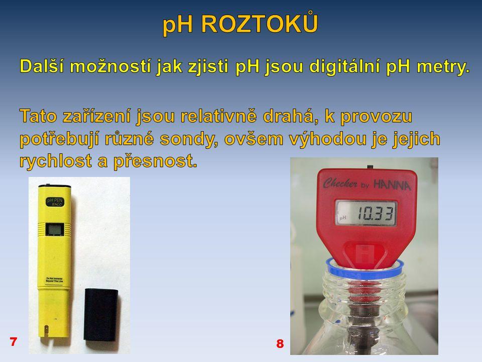 roztok pH (kyselé, zásadité, neutrální) mýdlo ocet Náplň akumulátorů Destilovaná voda Hydroxid vápenatý zásadité kyselé neutrální zásadité řešení