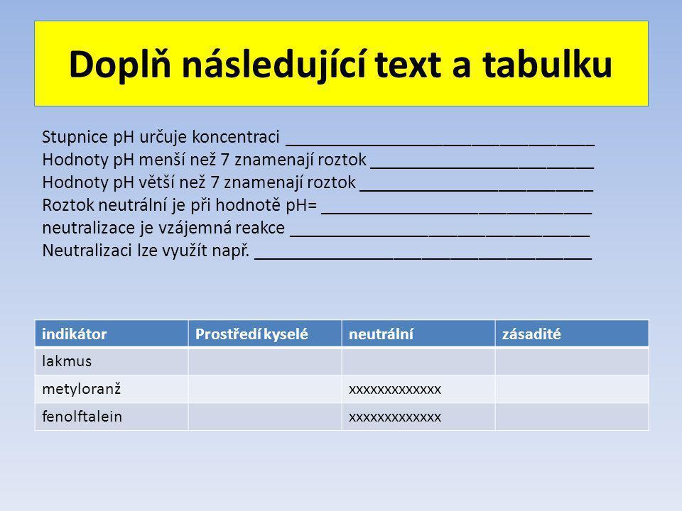 Doplň následující text a tabulku indikátorProstředí kyseléneutrálnízásadité lakmus metyloranžxxxxxxxxxxxxx fenolftaleinxxxxxxxxxxxxx Stupnice pH určuje koncentraci _________________________________ Hodnoty pH menší než 7 znamenají roztok ________________________ Hodnoty pH větší než 7 znamenají roztok _________________________ Roztok neutrální je při hodnotě pH= _____________________________ neutralizace je vzájemná reakce ________________________________ Neutralizaci lze využít např.
