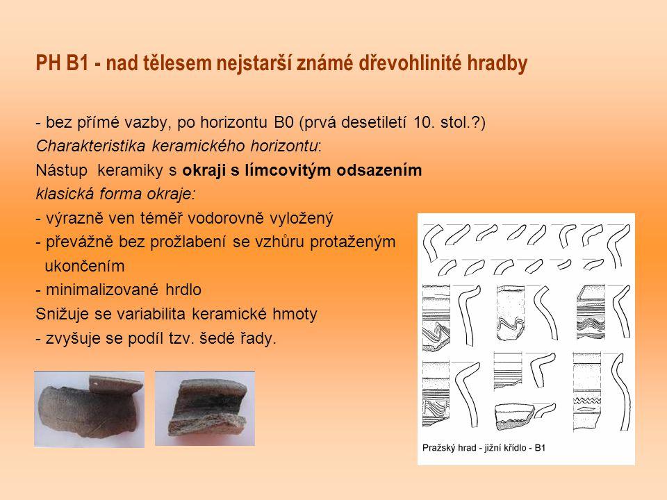 PH B1 - nad tělesem nejstarší známé dřevohlinité hradby - bez přímé vazby, po horizontu B0 (prvá desetiletí 10. stol.?) Charakteristika keramického ho