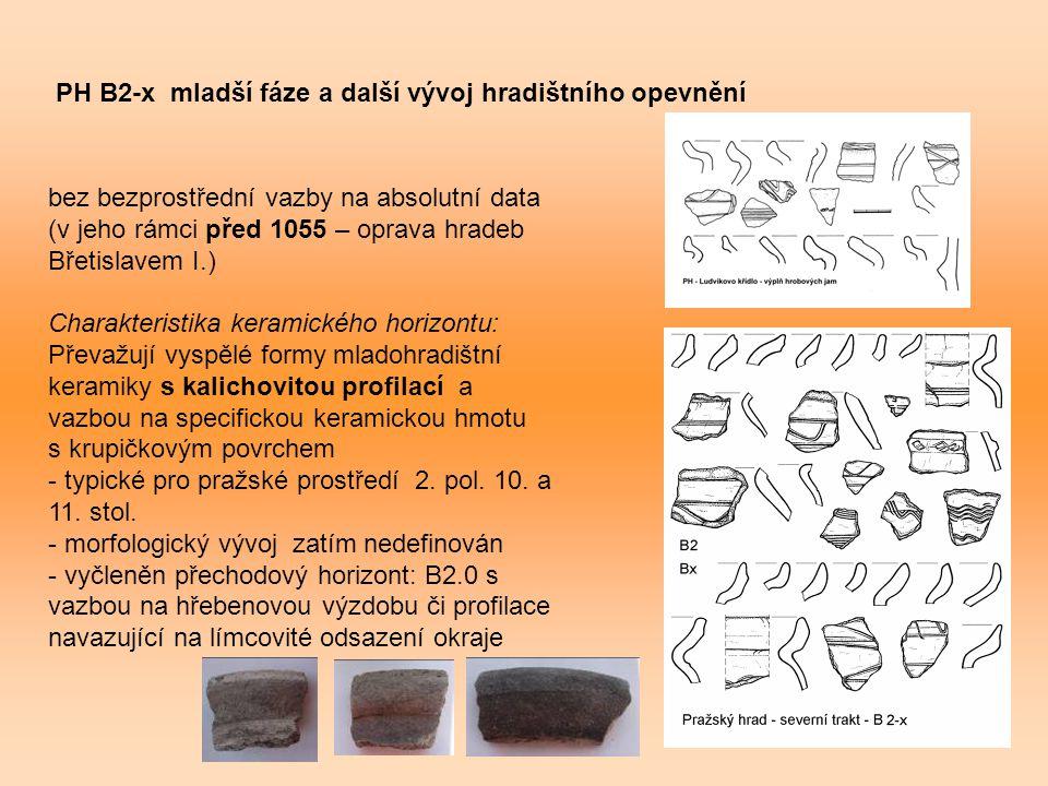 PH B2-x mladší fáze a další vývoj hradištního opevnění bez bezprostřední vazby na absolutní data (v jeho rámci před 1055 – oprava hradeb Břetislavem I.) Charakteristika keramického horizontu: Převažují vyspělé formy mladohradištní keramiky s kalichovitou profilací a vazbou na specifickou keramickou hmotu s krupičkovým povrchem - typické pro pražské prostředí 2.