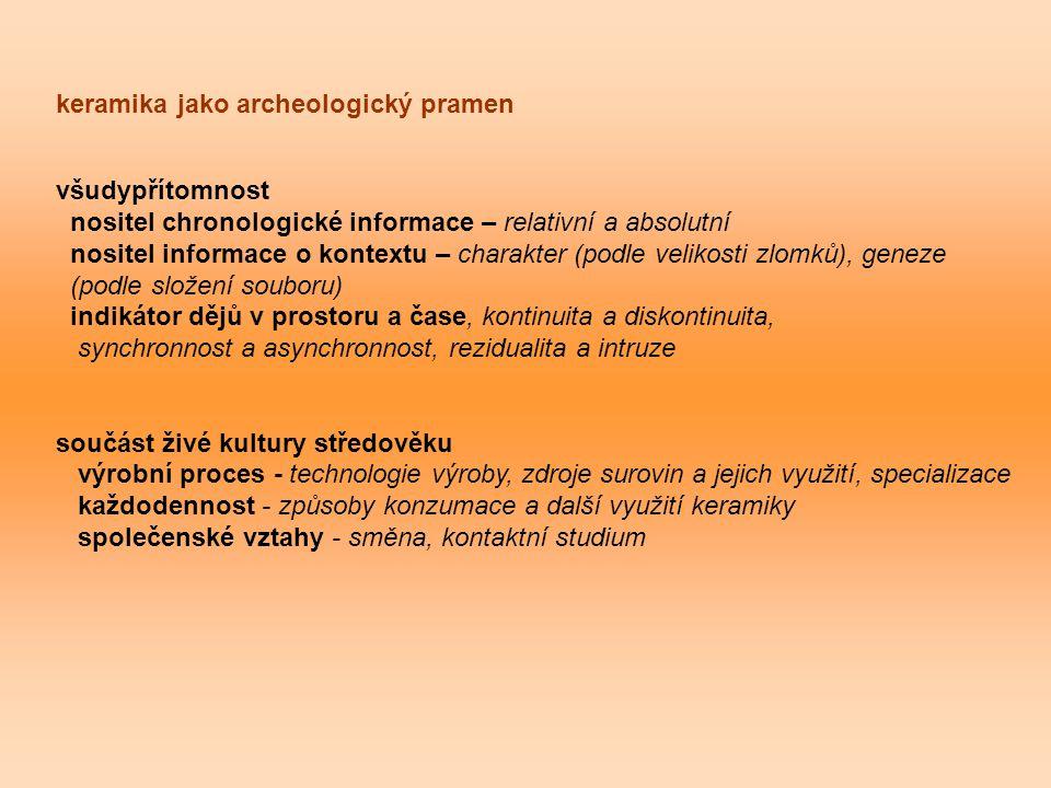 keramika jako archeologický pramen všudypřítomnost nositel chronologické informace – relativní a absolutní nositel informace o kontextu – charakter (podle velikosti zlomků), geneze (podle složení souboru) indikátor dějů v prostoru a čase, kontinuita a diskontinuita, synchronnost a asynchronnost, rezidualita a intruze součást živé kultury středověku výrobní proces - technologie výroby, zdroje surovin a jejich využití, specializace každodennost - způsoby konzumace a další využití keramiky společenské vztahy - směna, kontaktní studium