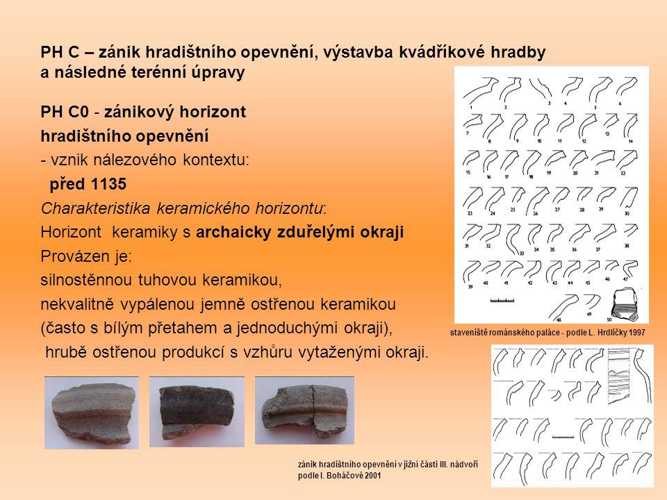 PH C – zánik hradištního opevnění, výstavba kvádříkové hradby a následné terénní úpravy PH C0 - zánikový horizont hradištního opevnění - vznik nálezového kontextu: před 1135 Charakteristika keramického horizontu: Horizont keramiky s archaicky zduřelými okraji Provázen je: silnostěnnou tuhovou keramikou, nekvalitně vypálenou jemně ostřenou keramikou (často s bílým přetahem a jednoduchými okraji), hrubě ostřenou produkcí s vzhůru vytaženými okraji.