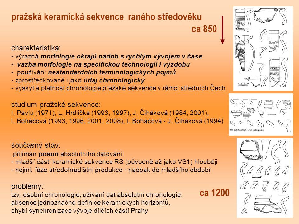 pražská keramická sekvence raného středověku ca 850 charakteristika: - výrazná morfologie okrajů nádob s rychlým vývojem v čase - vazba morfologie na specifickou technologii i výzdobu - používání nestandardních terminologických pojmů - zprostředkovaně i jako údaj chronologický - výskyt a platnost chronologie pražské sekvence v rámci středních Čech studium pražské sekvence: I.