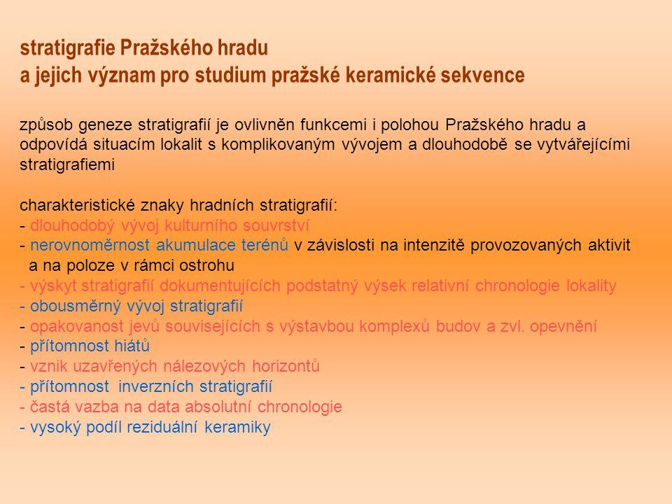 stratigrafie Pražského hradu a jejich význam pro studium pražské keramické sekvence způsob geneze stratigrafií je ovlivněn funkcemi i polohou Pražskéh