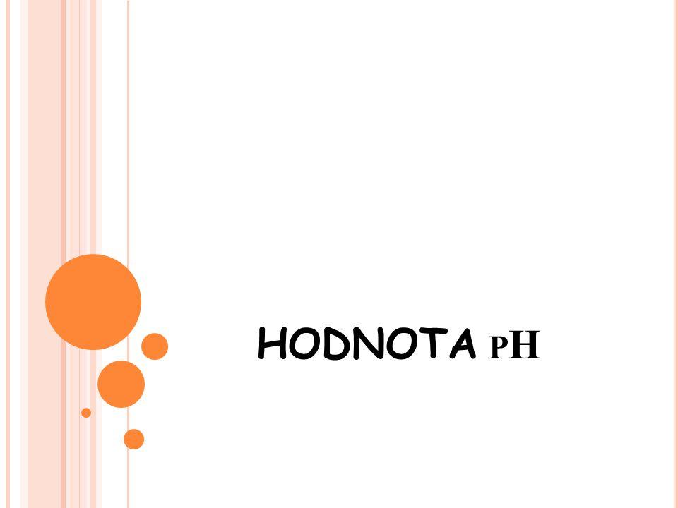 V YSVĚTLENÍ POJMU - P H hodnota pH je veličina, která udává sílu louhů a kyselin hodnota pH sahá odpH 0 – pH 14 kyseliny mají hodnotupH 0 – pH 7 neutrální roztok má pH 7 zásady mají hodnotupH 7 – pH 14