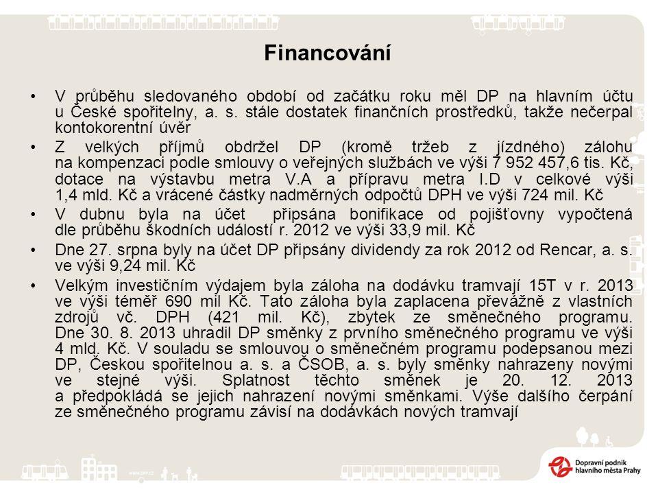 Financování V průběhu sledovaného období od začátku roku měl DP na hlavním účtu u České spořitelny, a. s. stále dostatek finančních prostředků, takže
