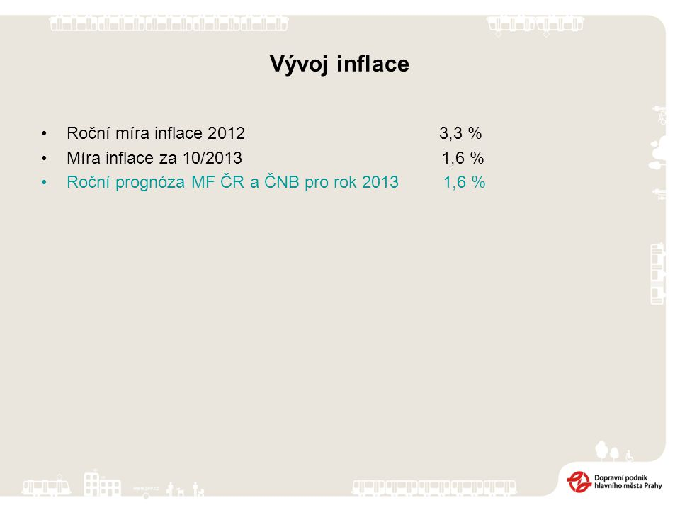 Vývoj inflace Roční míra inflace 2012 3,3 % Míra inflace za 10/2013 1,6 % Roční prognóza MF ČR a ČNB pro rok 2013 1,6 %