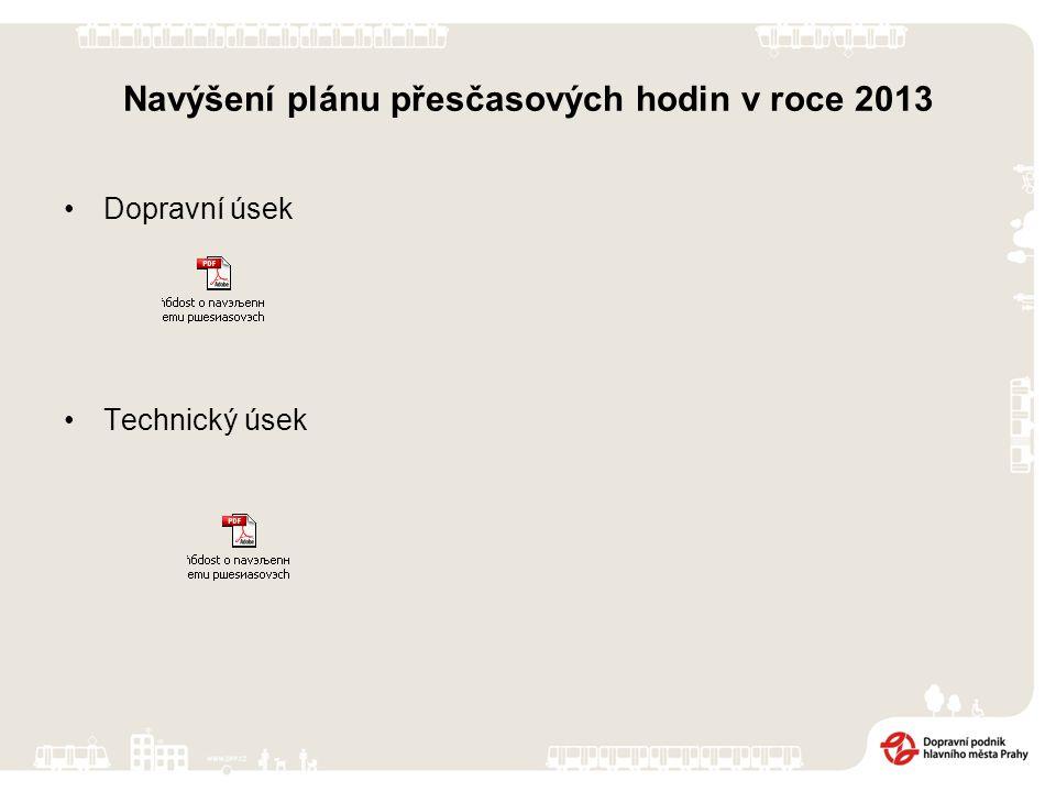 Navýšení plánu přesčasových hodin v roce 2013 Dopravní úsek Technický úsek
