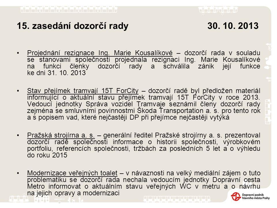 15. zasedání dozorčí rady 30. 10. 2013 Projednání rezignace Ing. Marie Kousalíkové – dozorčí rada v souladu se stanovami společnosti projednala rezign
