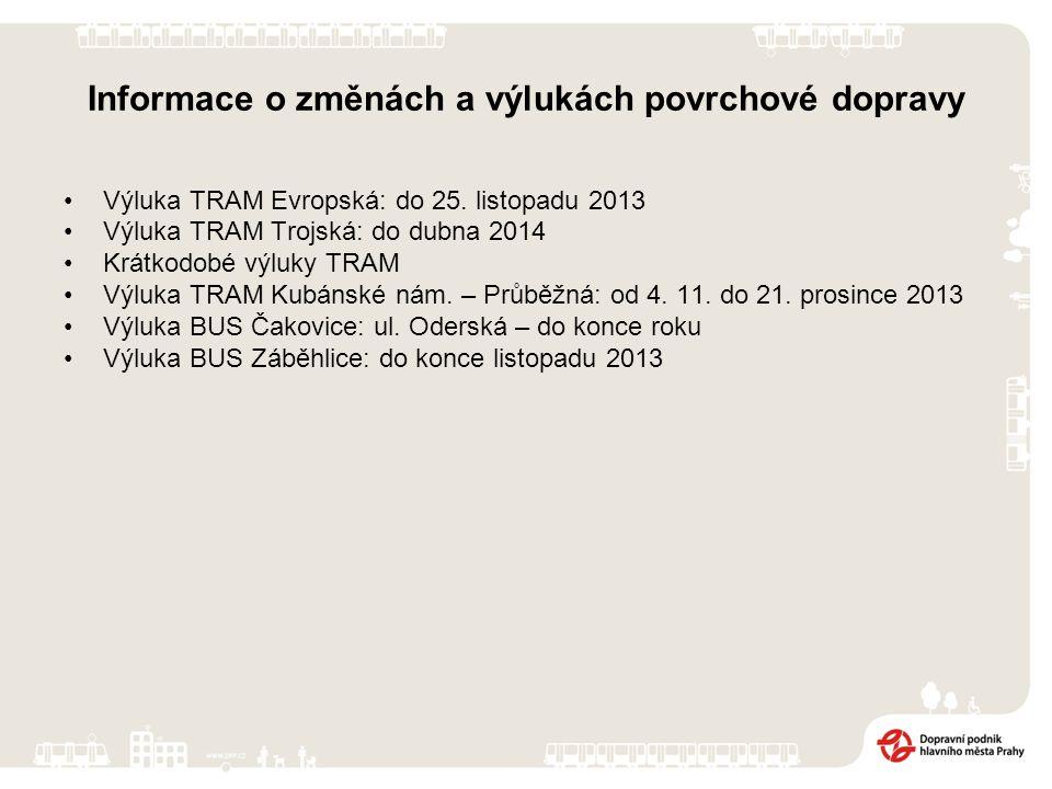 Informace o změnách a výlukách povrchové dopravy Výluka TRAM Evropská: do 25. listopadu 2013 Výluka TRAM Trojská: do dubna 2014 Krátkodobé výluky TRAM