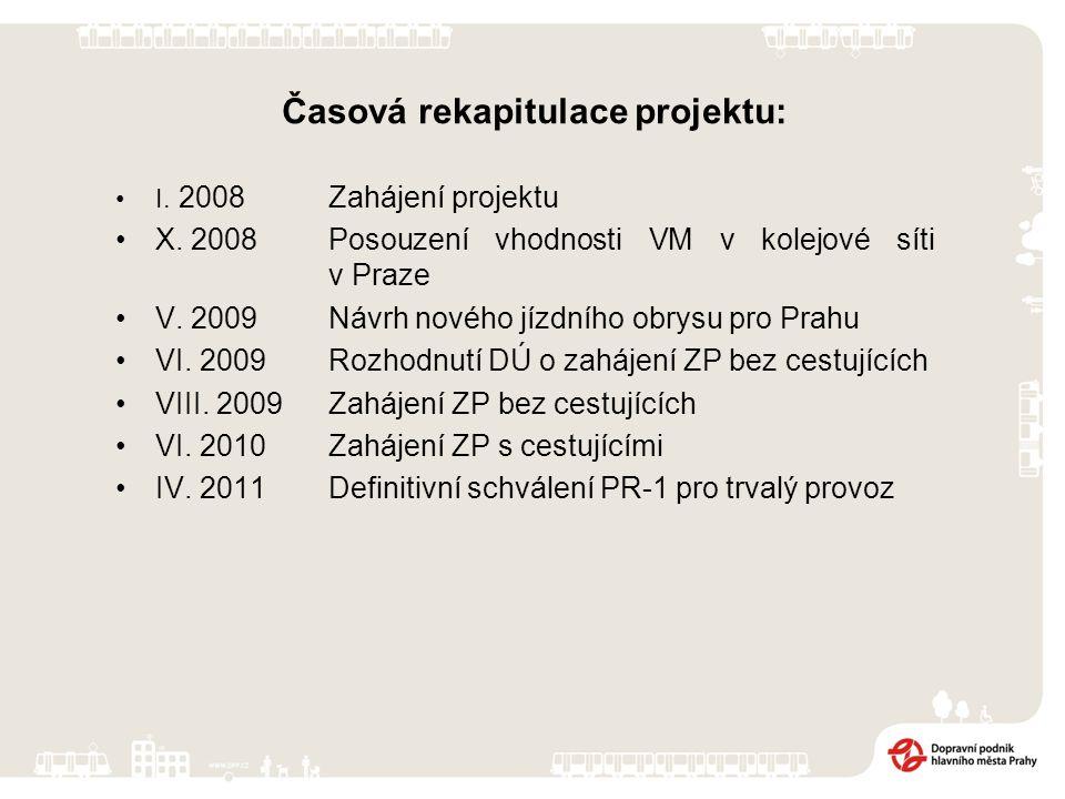 Časová rekapitulace projektu: I. 2008 Zahájení projektu X. 2008Posouzení vhodnosti VM v kolejové síti v Praze V. 2009Návrh nového jízdního obrysu pro