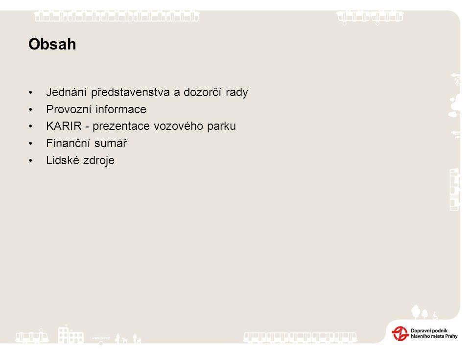 Obsah Jednání představenstva a dozorčí rady Provozní informace KARIR - prezentace vozového parku Finanční sumář Lidské zdroje