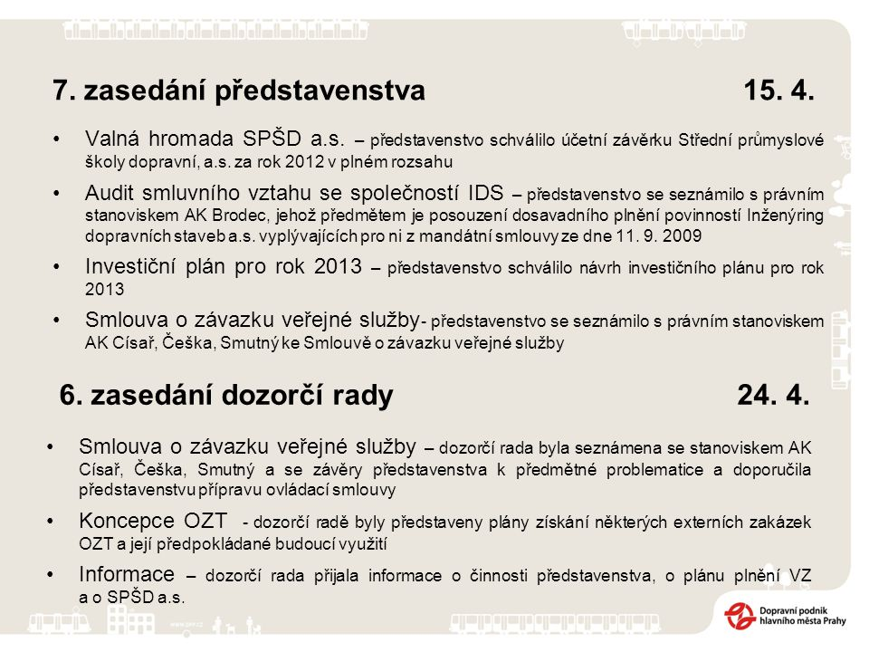 7. zasedání představenstva 15. 4. Valná hromada SPŠD a.s. – představenstvo schválilo účetní závěrku Střední průmyslové školy dopravní, a.s. za rok 201