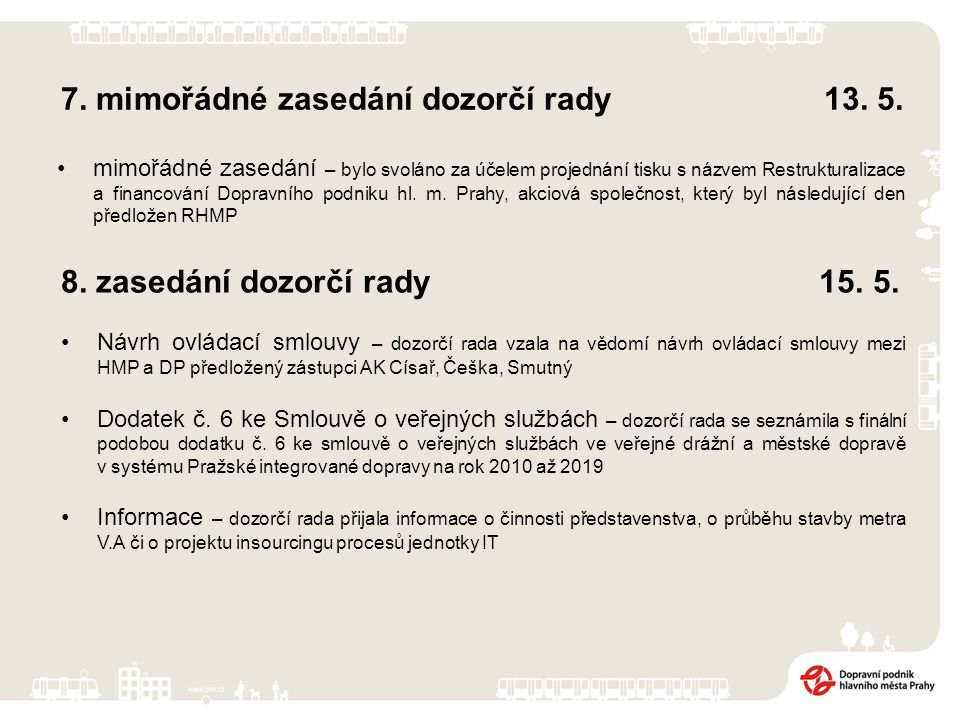 7. mimořádné zasedání dozorčí rady 13. 5.