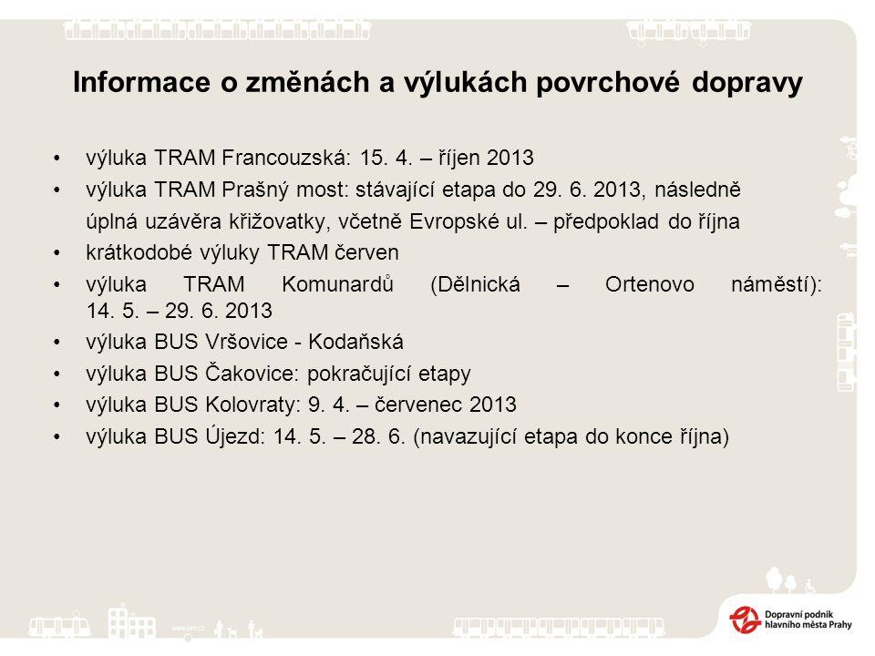 Informace o změnách a výlukách povrchové dopravy výluka TRAM Francouzská: 15. 4. – říjen 2013 výluka TRAM Prašný most: stávající etapa do 29. 6. 2013,