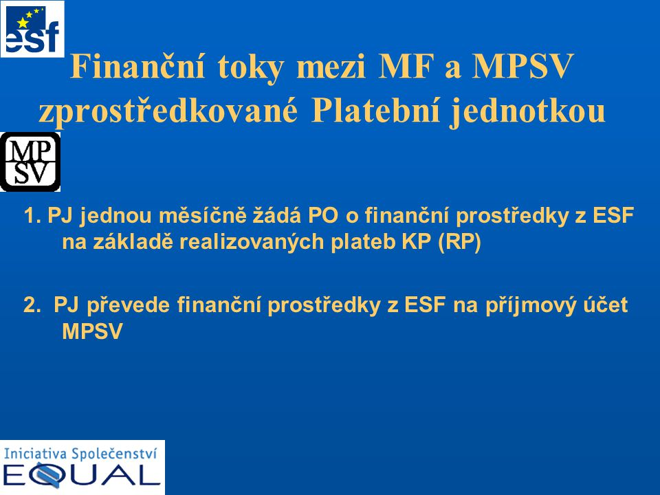 Finanční toky mezi MF a MPSV zprostředkované Platební jednotkou 1.
