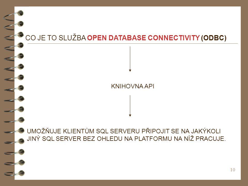 10 CO JE TO SLUŽBA OPEN DATABASE CONNECTIVITY (ODBC) KNIHOVNA API UMOŽŇUJE KLIENTŮM SQL SERVERU PŘIPOJIT SE NA JAKÝKOLI JINÝ SQL SERVER BEZ OHLEDU NA PLATFORMU NA NÍŽ PRACUJE.