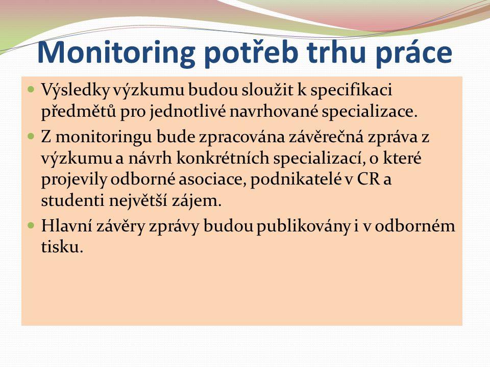 Monitoring potřeb trhu práce Výsledky výzkumu budou sloužit k specifikaci předmětů pro jednotlivé navrhované specializace. Z monitoringu bude zpracová