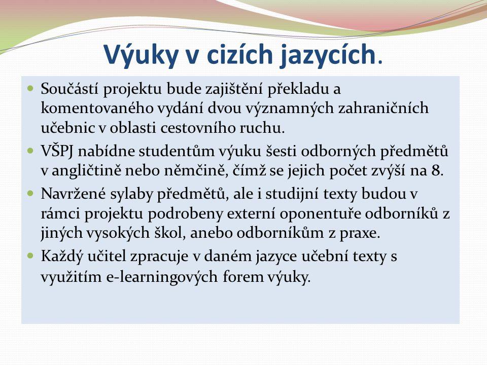 Výuky v cizích jazycích. Součástí projektu bude zajištění překladu a komentovaného vydání dvou významných zahraničních učebnic v oblasti cestovního ru