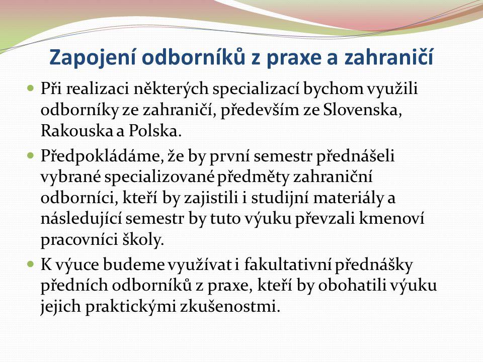 Zapojení odborníků z praxe a zahraničí Při realizaci některých specializací bychom využili odborníky ze zahraničí, především ze Slovenska, Rakouska a
