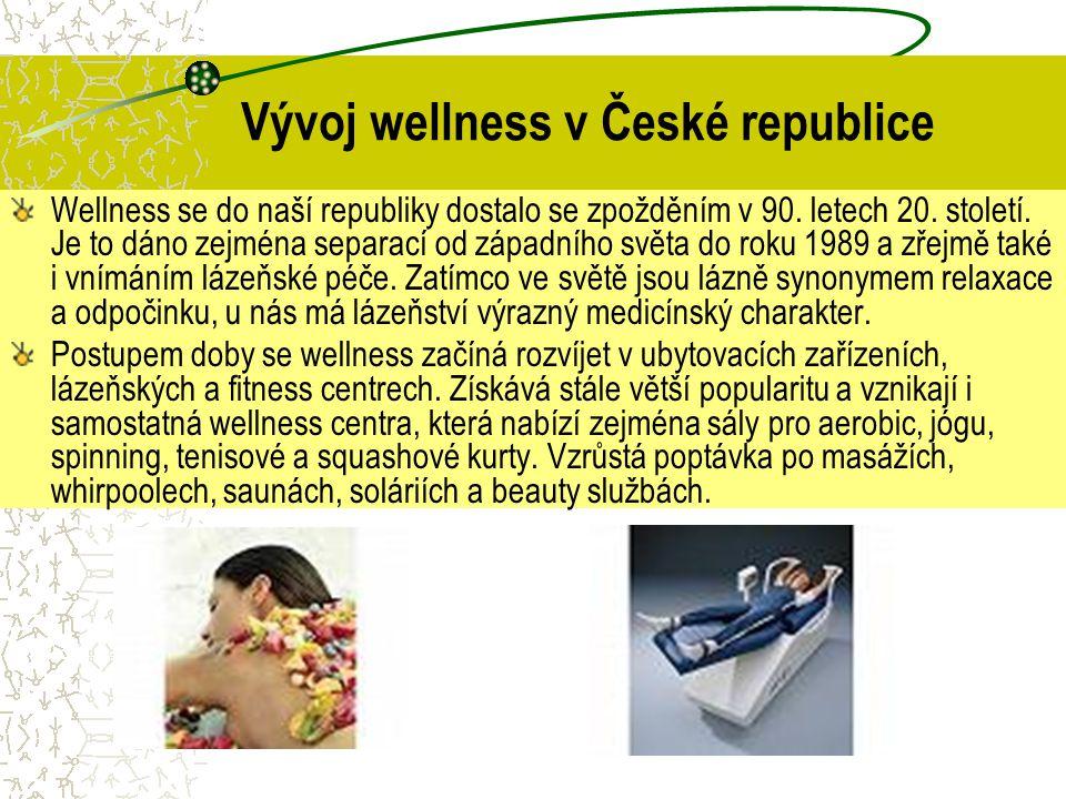 Wellness v cestovním ruchu Wellness v CR je zahrnuto pod zdravotní CR a u nás se rozvinuly dvě formy wellness.