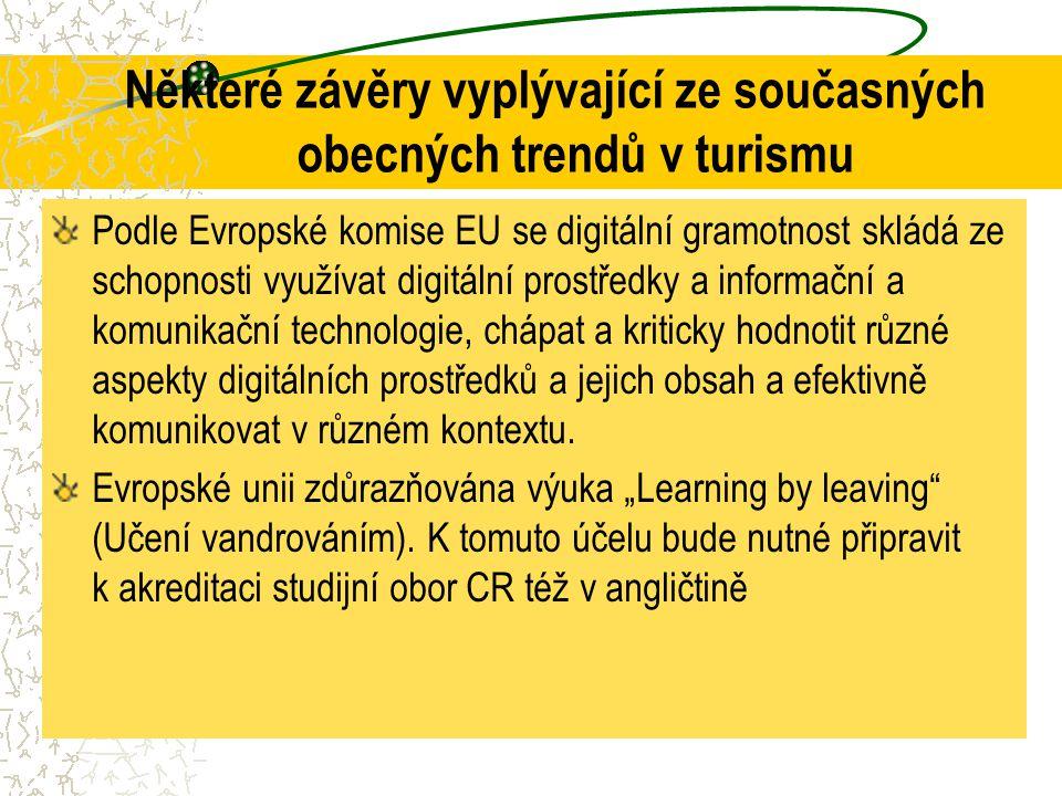 Některé závěry vyplývající ze současných obecných trendů v turismu Podle Evropské komise EU se digitální gramotnost skládá ze schopnosti využívat digi
