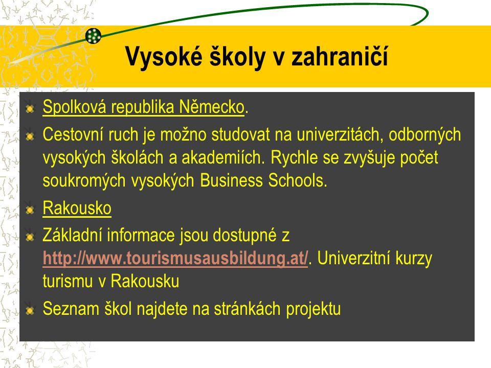 Vysoké školy v zahraničí Spolková republika Německo. Cestovní ruch je možno studovat na univerzitách, odborných vysokých školách a akademiích. Rychle