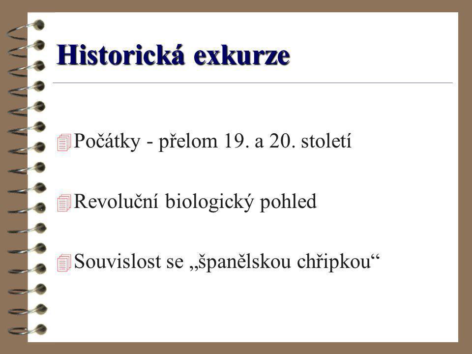 """Historická exkurze 4 Počátky - přelom 19. a 20. století 4 Revoluční biologický pohled 4 Souvislost se """"španělskou chřipkou"""""""