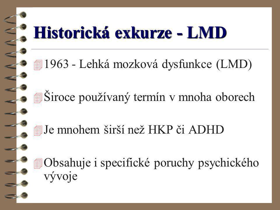Historická exkurze - LMD 4 1963 - Lehká mozková dysfunkce (LMD) 4 Široce používaný termín v mnoha oborech 4 Je mnohem širší než HKP či ADHD 4 Obsahuje