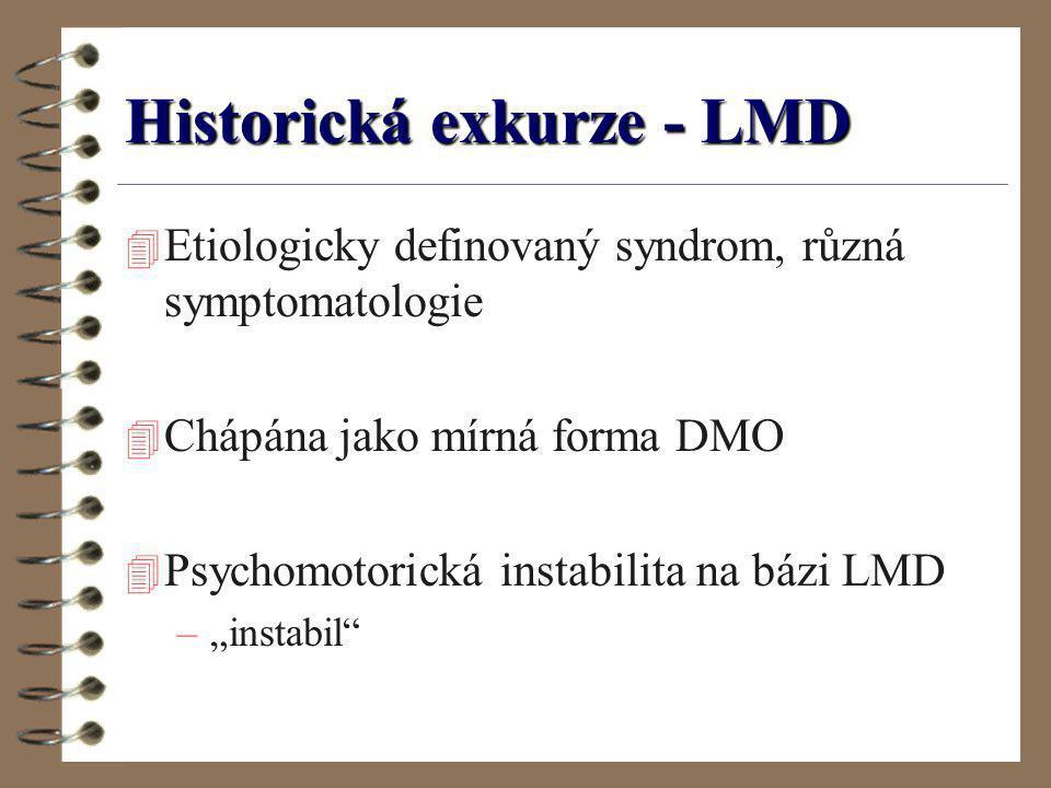Historická exkurze - LMD 4 Etiologicky definovaný syndrom, různá symptomatologie 4 Chápána jako mírná forma DMO 4 Psychomotorická instabilita na bázi