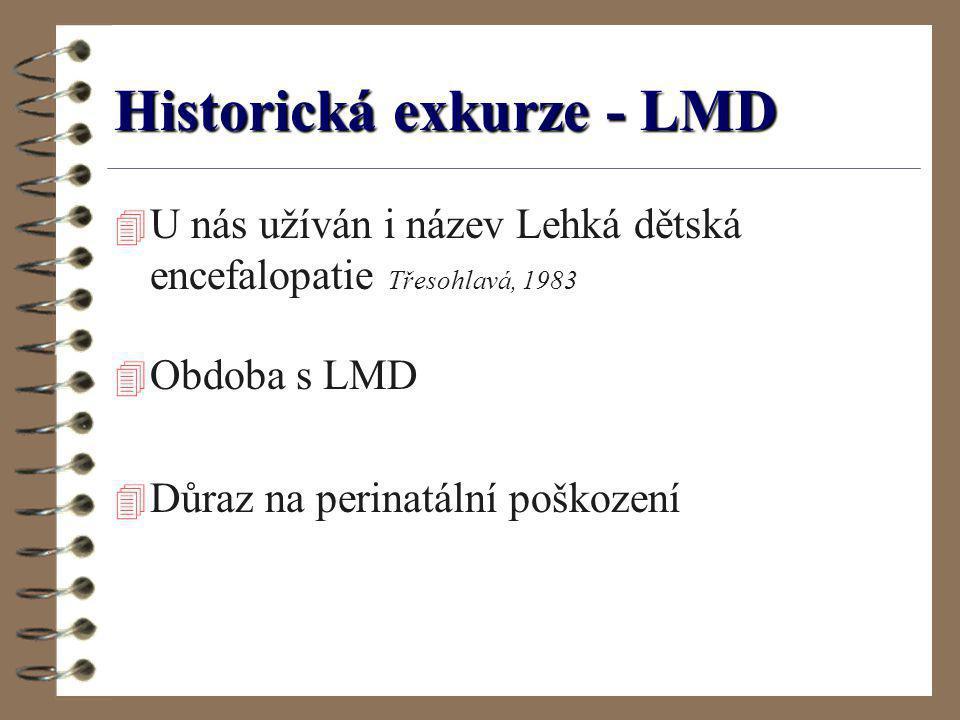 Historická exkurze - LMD 4 U nás užíván i název Lehká dětská encefalopatie Třesohlavá, 1983 4 Obdoba s LMD 4 Důraz na perinatální poškození