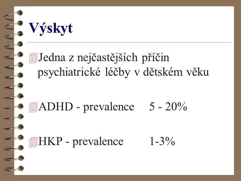 Výskyt 4 Jedna z nejčastějších příčin psychiatrické léčby v dětském věku 4 ADHD - prevalence 5 - 20% 4 HKP - prevalence 1-3%