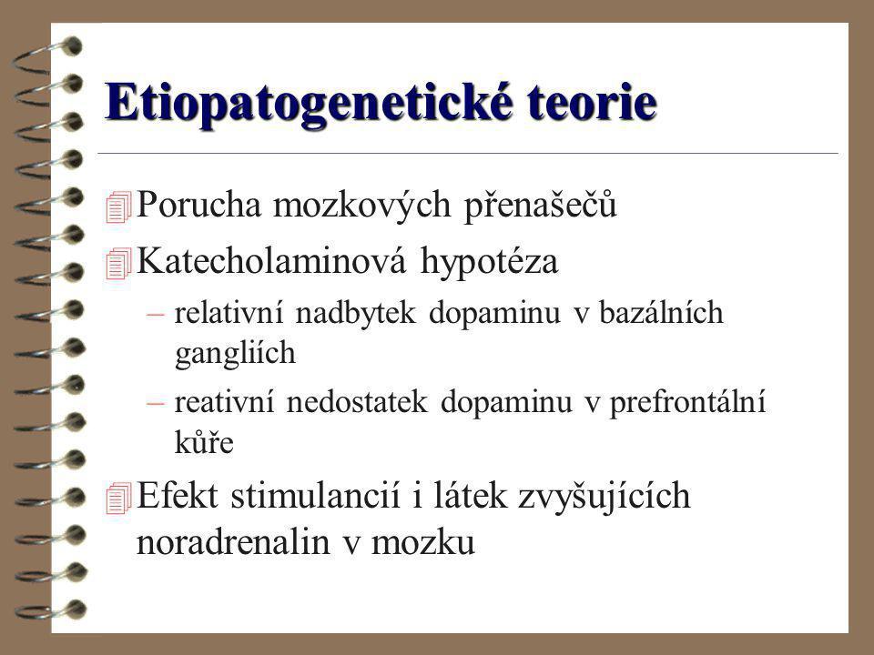 Etiopatogenetické teorie 4 Porucha mozkových přenašečů 4 Katecholaminová hypotéza –relativní nadbytek dopaminu v bazálních gangliích –reativní nedosta