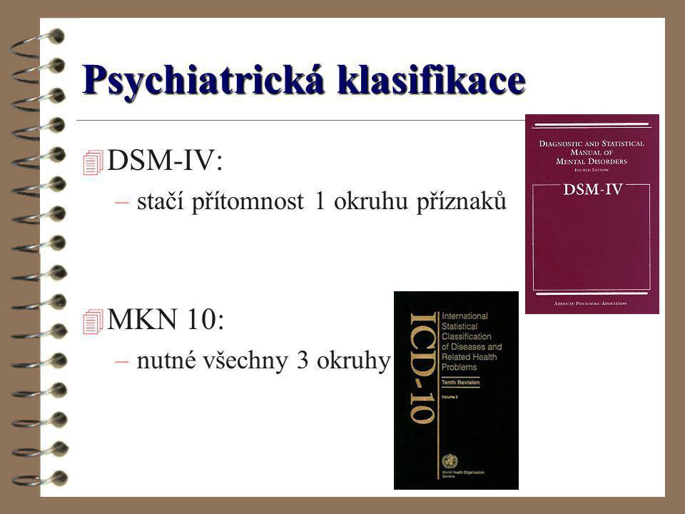 Psychiatrická klasifikace 4 DSM-IV: –stačí přítomnost 1 okruhu příznaků 4 MKN 10: –nutné všechny 3 okruhy