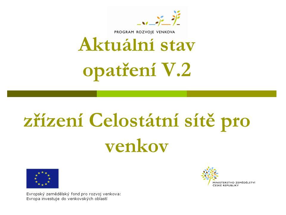 Aktuální stav opatření V.2 zřízení Celostátní sítě pro venkov Evropský zemědělský fond pro rozvoj venkova: Evropa investuje do venkovských oblastí