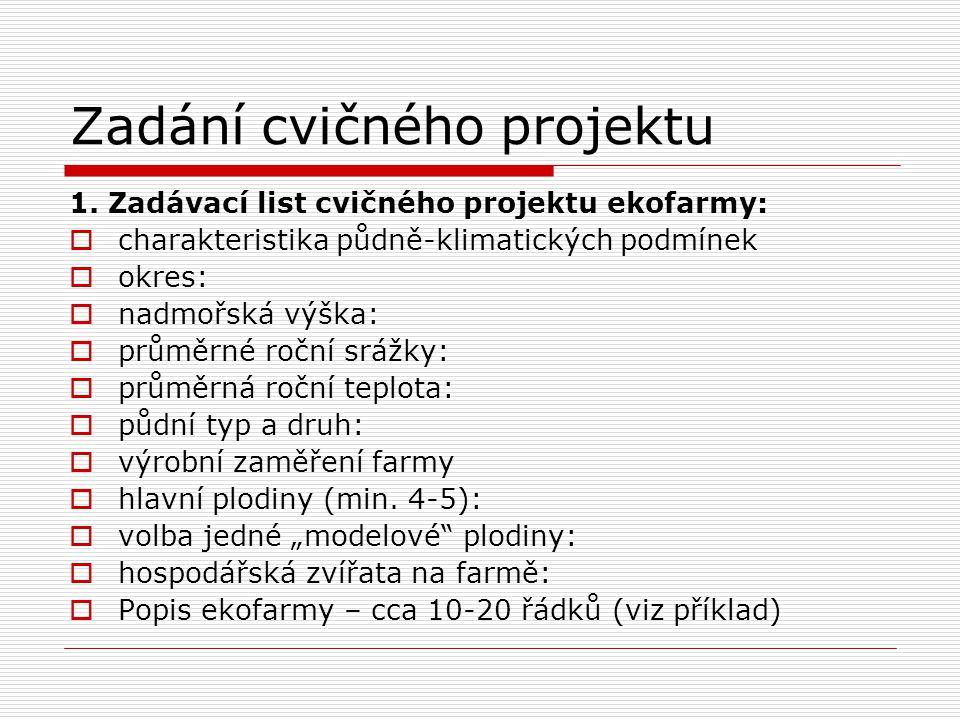 Zadání cvičného projektu 1. Zadávací list cvičného projektu ekofarmy:  charakteristika půdně-klimatických podmínek  okres:  nadmořská výška:  prům