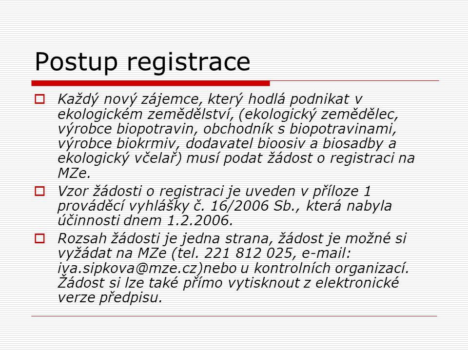 Postup registrace  Žádost se podává na adresu: Ministerstvo zemědělství ČR, odbor ekologického zemědělství a obnovitelných zdrojů energie, Těšnov 17, 117 05 Praha 1.