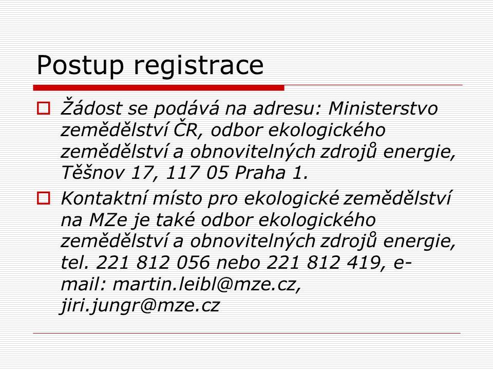 Postup registrace  Žádost se podává na adresu: Ministerstvo zemědělství ČR, odbor ekologického zemědělství a obnovitelných zdrojů energie, Těšnov 17,