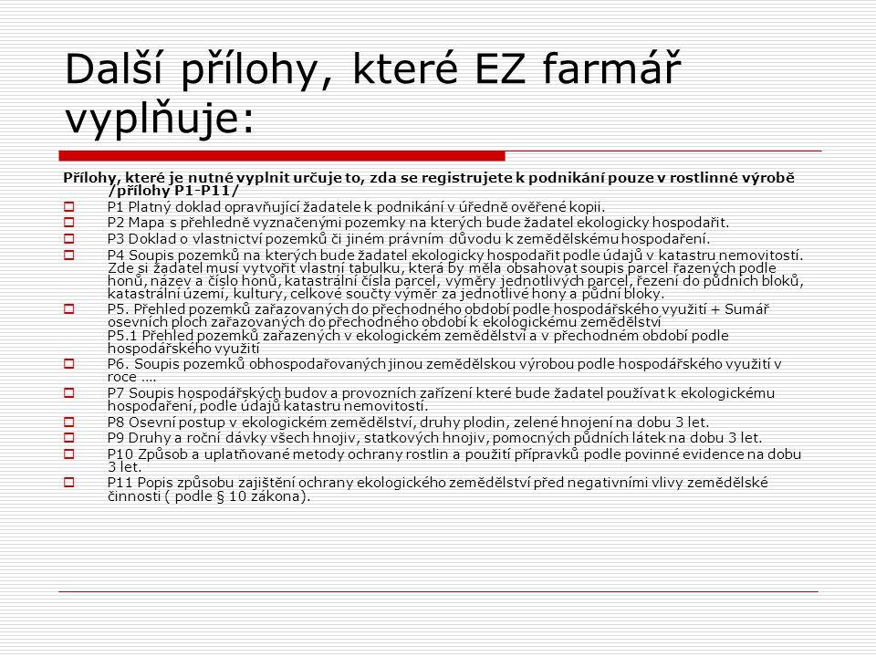Další přílohy, které EZ farmář vyplňuje: Přílohy, které je nutné vyplnit určuje to, zda se registrujete k podnikání pouze v rostlinné výrobě /přílohy
